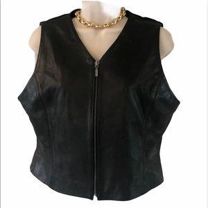 EUC petite sophisticated black leather vest M
